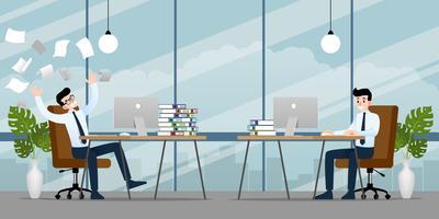 Uomo d'affari che lavora in diverse emozioni. Due uomini d'affari hanno una situazione di contrasto nel lavoro, ma l'altro è molto confuso e occupato. Disegno vettoriale illustrazione.