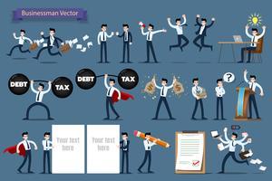 Uomo d'affari con diverse pose, lavorando e presentando gesti di processo, azioni e pose insieme di progettazione del carattere. vettore
