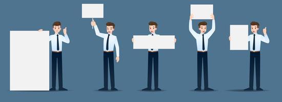 Set di uomo d'affari in 5 diversi gesti. Le persone nel mondo degli affari rappresentano molte azioni. Illustrazione vettoriale.