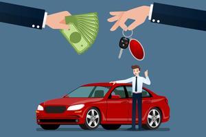 La mano del rivenditore di auto fa uno scambio tra l'auto e il denaro del cliente. Illustrazione vettoriale.