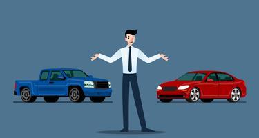 Un uomo d'affari felice, commesso è in piedi e presenta la sua auto di lusso e pick-up che ha parcheggiato nello show room.Vector design illustrazione.