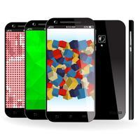 Vista frontale, laterale e posteriore dello smartphone