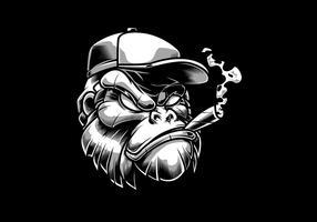 Illustrazione vettoriale di testa di gorilla funky