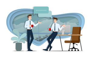 Due uomini d'affari che parlano a vicenda. Il dipendente parla con il team di idee di business o di organizzazione commerciale durante l'ora del caffè. vettore