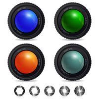 Obiettivo della fotocamera con diverse aperture dell'otturatore vettore