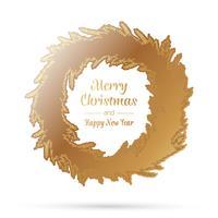 Corona di Natale d'oro vettore