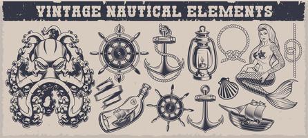 Set di elementi nautici vintage in bianco e nero vettore