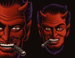 Illustrazione vettoriale colorata di una faccia del diavolo che fuma un sigaro