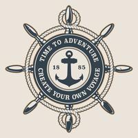 Badge con la ruota e l'ancora della nave vettore