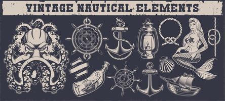 Set di elementi nautici vintage vettore