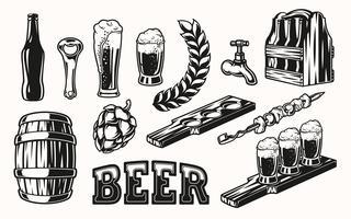 Vector set di elementi di birra