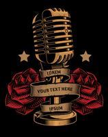 Illustrazione vettoriale di un microfono con rose e un nastro