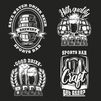 Impostare illustrazione di birra su sfondo scuro