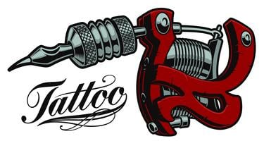 Illustrazione vettoriale colorata di una macchina del tatuaggio