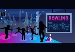 Pacchetto di vettore di Bowling Party Vector and Children Silhouette