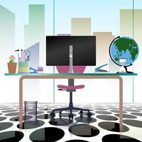 Scrittorio vuoto della sedia del posto di lavoro interno dell'ufficio moderno nella progettazione piana dell'illustrazione di vettore.