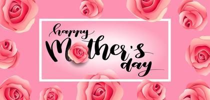 biglietto di auguri per la festa della mamma. felice madre s giorno elegante calligrafia bandiera lettering testo vettoriale in cornice di fondo.