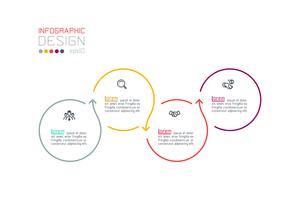 Cerchio etichetta infografica con passo dopo passo. vettore