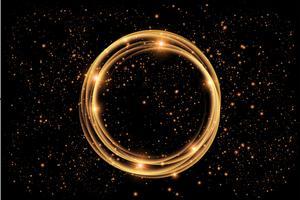 cerchio di fuoco. Traccia luminosa ad anello luminoso. Glitter magic sparkle swirl trail effect. insolito, fantastico.