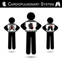 Sistema cardiopolmonare. Schermo del monitor della stretta umana e visualizzazione dello scheletro (danno al torace), cuore (infarto miocardico), polmone (tubercolosi polmonare) (concetto di RCP) vettore