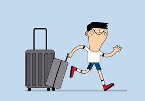 Ragazzo libero con il vettore di bagagli