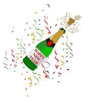 bottiglia di vetro nero esplosione di champagne realistico con etichetta d'oro schioccando i suoi spruzzi di sughero.