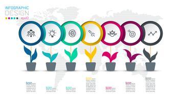 Cerchio etichetta infografica con 7 passaggi. vettore