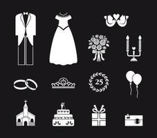 Elementi di vettore di nozze in bianco e nero