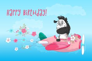 Cartolina poster carino zebra sull'aereo e fiori in stile cartone animato. Disegno a mano