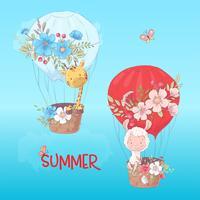Manifesto della cartolina di un lama e di una giraffa svegli in un pallone con i fiori nello stile del fumetto. Disegno a mano vettore