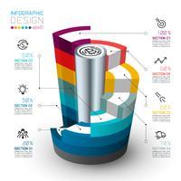Cilindri isometrici colorati di infografica.