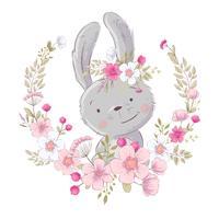 Poster cartolina carino piccolo coniglietto in una corona di fiori. Disegno a mano Vettore