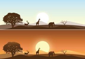 Pacchetto di vettore del paesaggio di alba africana