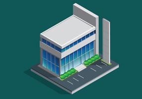 Edificio per uffici isometrico vettore