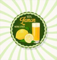 Bicchiere di succo di limone con sfondo di frutta vettore