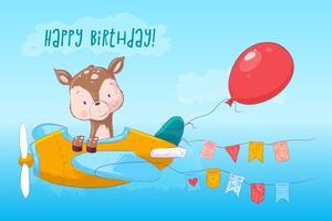 Cartone poster carino cervo sull'aereo in stile cartone animato. Disegno a mano