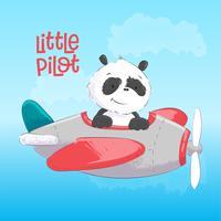 Cartolina poster carino panda sull'aereo in stile cartone animato. Disegno a mano