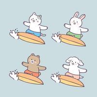 Cartone animato carino estate animali e surf vettoriale. vettore