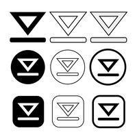 set di icona semplice download di segno vettore