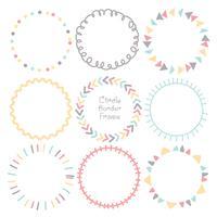 Set di bordi colorati doodle cerchio cornice, cornici rotonde decorativi. Illustrazione vettoriale