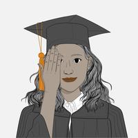 Le donne si laureano con successo studentesco. Concetti di apprendimento di successo nella vita