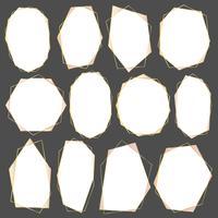 Set di cornice geometrica in oro, elemento decorativo per carta di nozze, inviti e logo. Illustrazione vettoriale