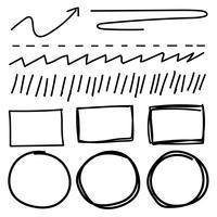 L'insieme di vettore della riga grunge spazzola le strutture. Illustrazione vettoriale a mano.