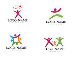 Adozione logo bambini e simbolo salute vettoriale