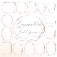 Set di cornice geometrica in oro rosa, elemento decorativo per carta di nozze, inviti e logo. Illustrazione vettoriale