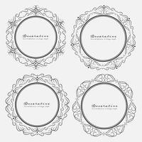Set di stile vintage cornici rotonde decorativi. Illustrazione vettoriale