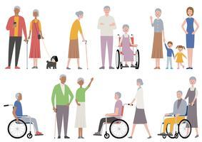 Insieme di persone anziane isolato su uno sfondo bianco.