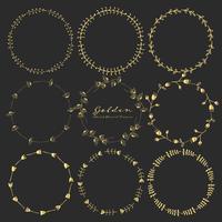 Set di cornici rotonde floreali dorate per la decorazione, Cornici rotonde decorative. Illustrazione vettoriale