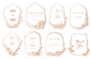 Insieme del telaio geometrico, fiori disegnati a mano, composizione botanica, elemento decorativo per la partecipazione di nozze, illustrazione di vettore di inviti.