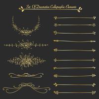 Insieme di elementi calligrafici decorativi dorati per la decorazione. Illustrazione vettoriale a mano.